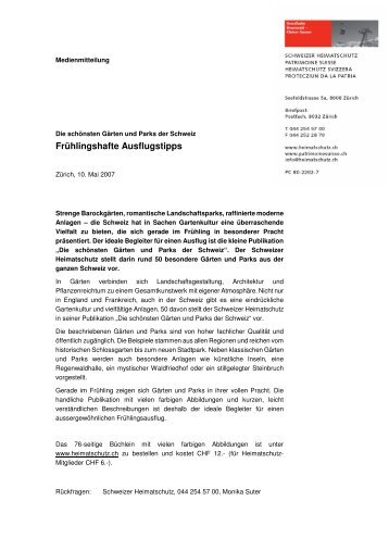 Frühlingshafte Ausflugstipps - Schweizer Heimatschutz