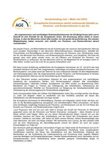 Sonderbriefing Juni Mitte Juli 2010 - AGE Platform Europe
