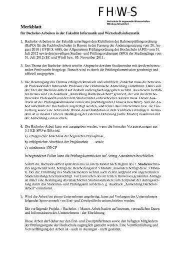 Merkblatt Bachelorarbeit - Fakultät Informatik und Wirtschaftsinformatik