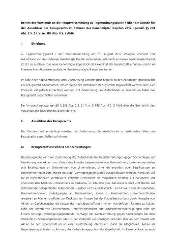 Bericht des Vorstands an die Hauptversammlung zu ...
