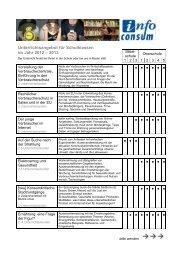 Unterrichtsprogramm 2012 2013 - Verbraucherzentrale Südtirol