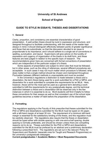 Guide to Style in Essays, Theses and Dissertations - University of St ...