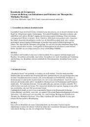Kranksein als Lernprozess, - Selbsthilfegruppen Plasmozytom ...