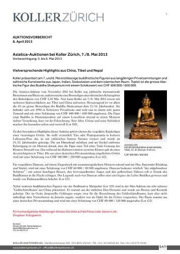 Asiatica-Auktionen bei Koller Zürich, 7./8. Mai 2013
