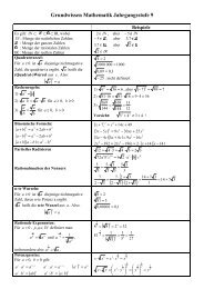Grundwissen Mathematik Jahrgangsstufe 9