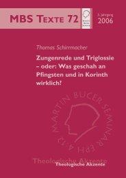 Zungenrede und Triglossie - Martin Bucer Seminar