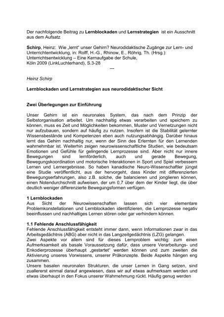 Prof. Dr. Heinz Schirp: Lernblockaden und Lernstrategien ... - Iserlohn