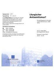 Liturgischer Antisemitismus? - Franz-Hitze-Haus