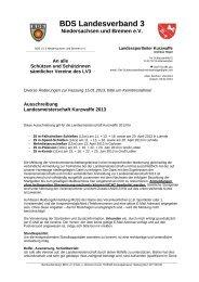 Ausschreibung LM Kurzwaffe 2013 - BDS Niedersachsen und Bremen