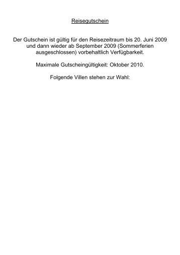 Reisegutschein Der Gutschein ist gültig für den Reisezeitraum bis ...