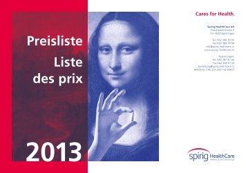 Preisliste Liste des prix - Spirig HealthCare