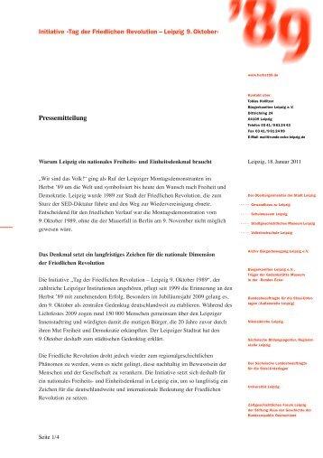 Initiative »Tag der Friedlichen Revolution - Herbst '89 - Aufbruch zur ...