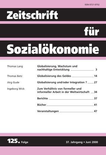 Globalisierung des Geldes - Zeitschrift für Sozialökonomie