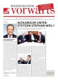 Ausgabe Mai 2012 des Niedersachsen-Vorwärts als pdf-Datei.