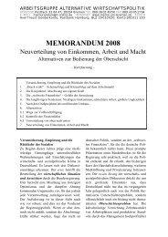 MEMORANDUM 2008 - Arbeitsgruppe Alternative Wirtschaftspolitik