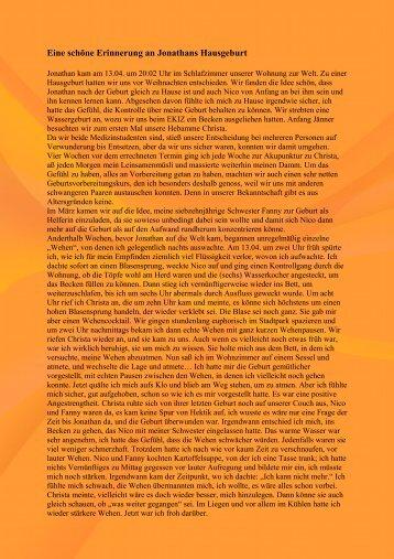 """Erfahrungsbericht einer Hausgeburt """"Jonathan"""" als PDF herunterladen"""