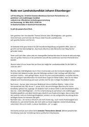 Rede von Landratskandidat Johann Eitzenberger