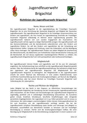 Richtlinien JF Brigachtal - Jugendfeuerwehr Brigachtal