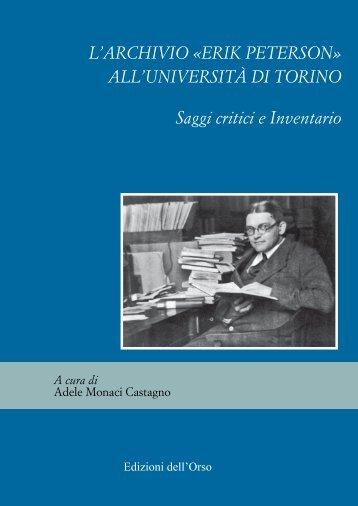 L'ARCHIVIO «ERIK PETERSON - Università degli Studi di Torino