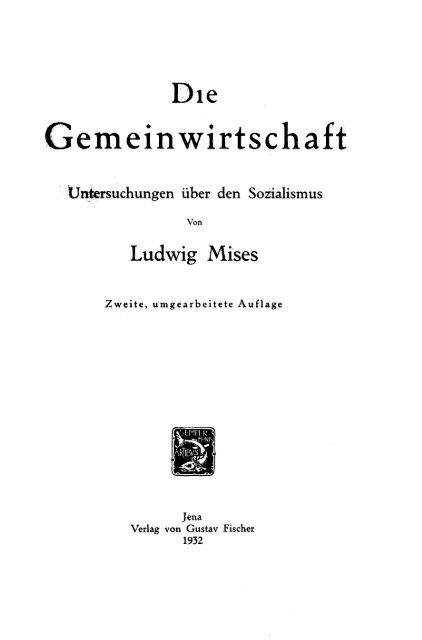Die Gemeinwirtschaft - Swiss Mises Institute