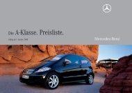 Preisliste Mercedes-Benz A-Klasse Coupe C169 vom 01.01.2008