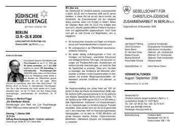 August / September - Berlin - Gesellschaft für Christlich-Jüdische ...