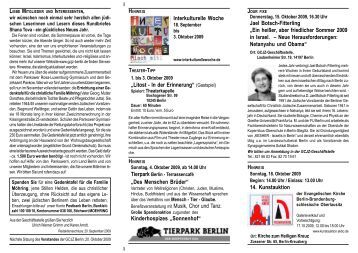 Oktober - Berlin - Gesellschaft für Christlich-Jüdische Zusammenarbeit