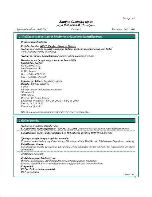 Saugos duomenų lapas - GC Europe