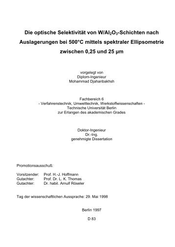 Optische Selektivität v. W/Al2O3-Schichten