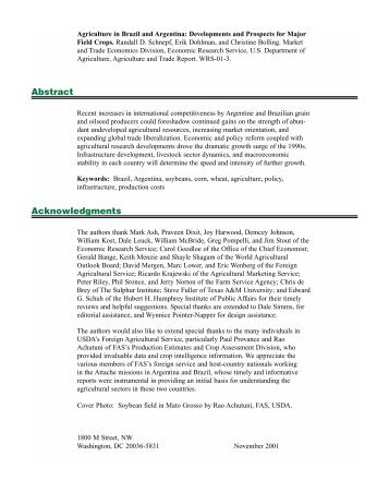 Agriculture in Brazil and Argentina - Economic Research Service ...