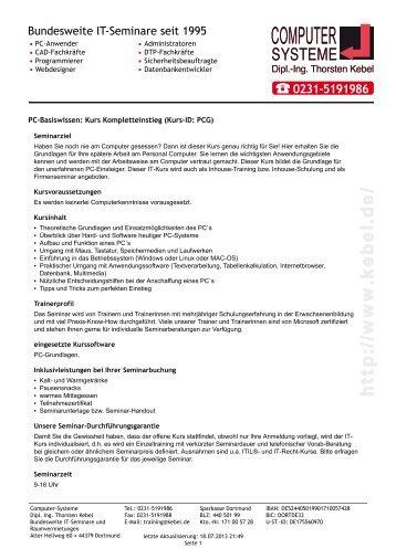 PC-Basiswissen - Kurs Kompletteinstieg - Computer-Systeme Dipl ...