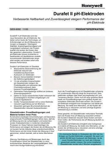 Durafet II pH-Elektroden - Bachofen AG