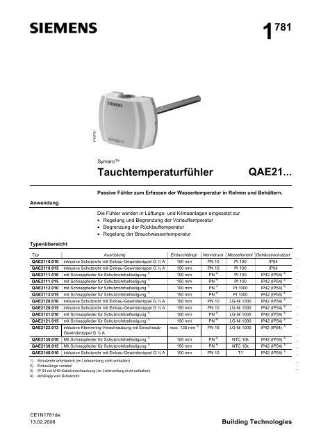 Siemens Tauchtemperaturfühler QAE2110.015 Pt100
