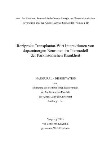 Reziproke Transplantat-Wirt Interaktionen von dopaminergen ...