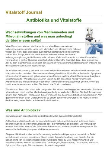 Vitalstoff Journal Antibiotika und Vitalstoffe - Bermibs.de
