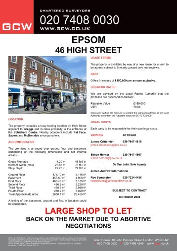 46 HIGH STREET LARGE SHOP TO LET - GCW