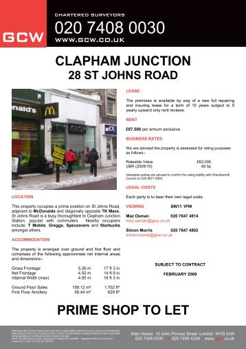 CLAPHAM JUNCTION PRIME SHOP TO LET - GCW