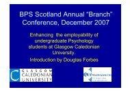 BPS Scotland Conference - Glasgow Caledonian University