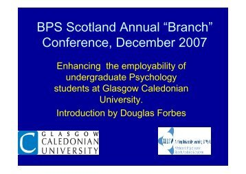 BPS Scotland Conference - Glasgow Caledonian University