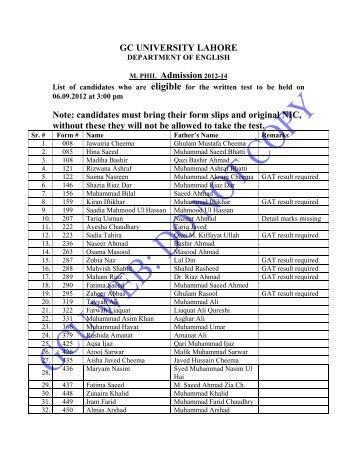 GC UNIVERSITY LAHORE M. PHIL Admission 2012-14 Note ...