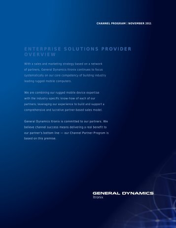 enterprise solutions provider overview - General Dynamics Itronix