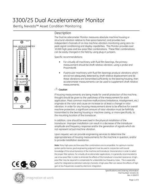 [XOTG_4463]  3300/25 Dual Accelerometer Monitor - GE Measurement & Control | Bently Nevada Wiring Diagram |  | Yumpu