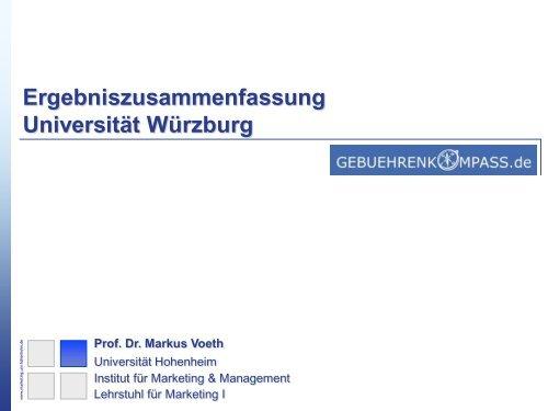 Ergebniszusammenfassung Universität Würzburg Prof. Dr. Markus ...