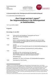 Protokoll der Sitzung des AK Gedenkstättenpädagogik, 15