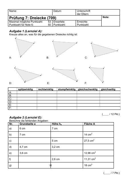 Prüfung 7: Dreiecke (709) - Gegenschatz.net