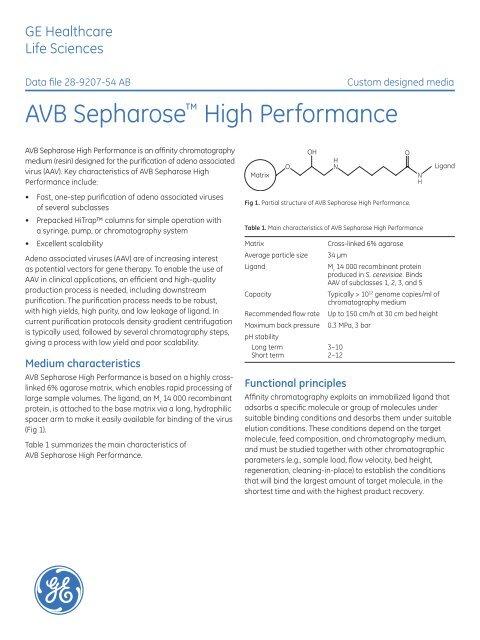 Pdf Avb Sepharose High Performance