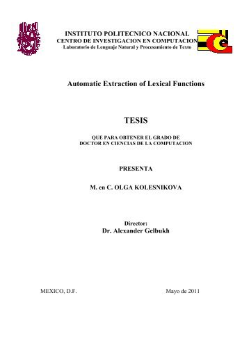 Automatic Extraction of Lexical Functions - Alexander Gelbukh