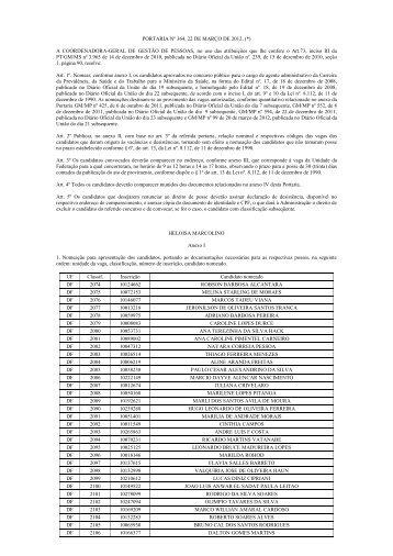 Portaria nº 364/2012 - Ministério da Saúde