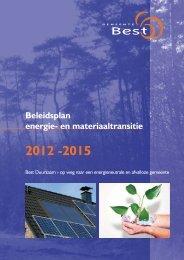 Beleidsplan energie- en materiaaltransitie 2012 ... - Gemeente Best