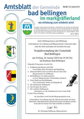 Neujahrsempfang der Gemeinde Bad Bellingen